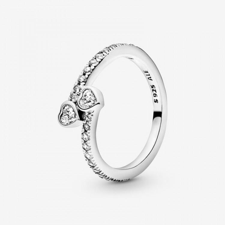 Pandora - Anello Due Cuori Scintillanti