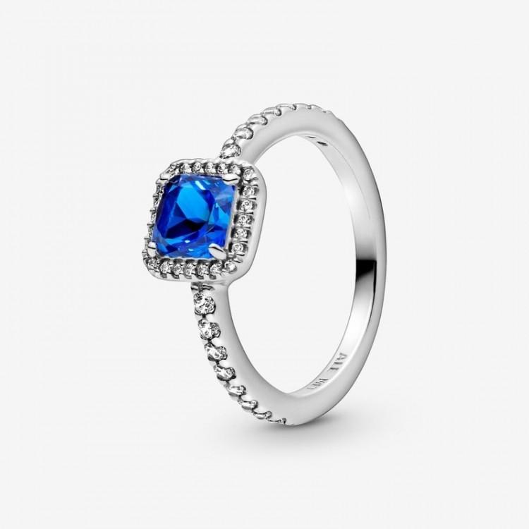 Pandora - Anello Punto Luce Scintillante Con Pietra Blu Quadrata