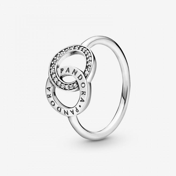 Pandora - Anello Scintillante Con Cerchi Intrecciati E Logo Pandora