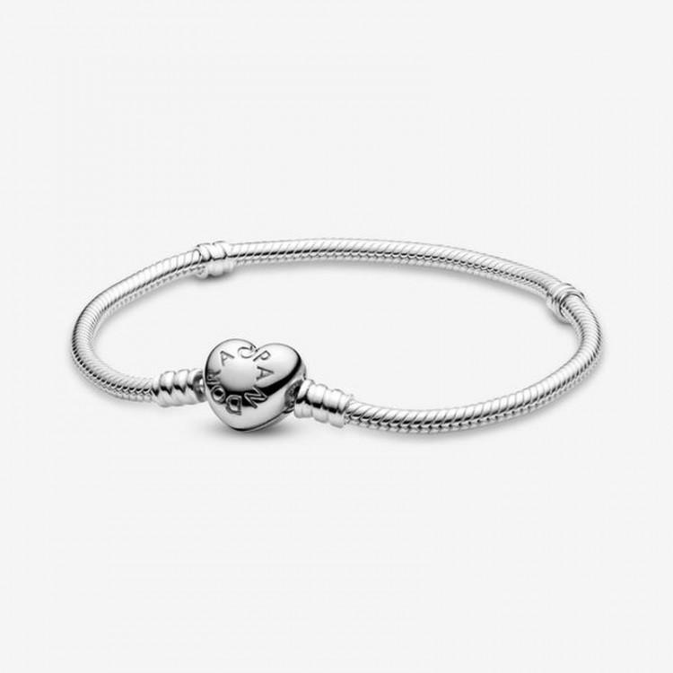 Pandora - Bracciale Pandora Moments Con Maglia Snake E Chiusura A Cuore