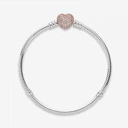 Pandora - Bracciale In Argento Con Chiusura A Cuore In Pavé In Pandora Rose