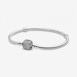Pandora - Bracciale Pandora Moments Con Maglia Snake E Chiusura Con Pavé Scintillante