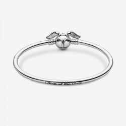 Pandora - Harry Potter, Bracciale Rigido Con Chiusura Boccino D'Oro